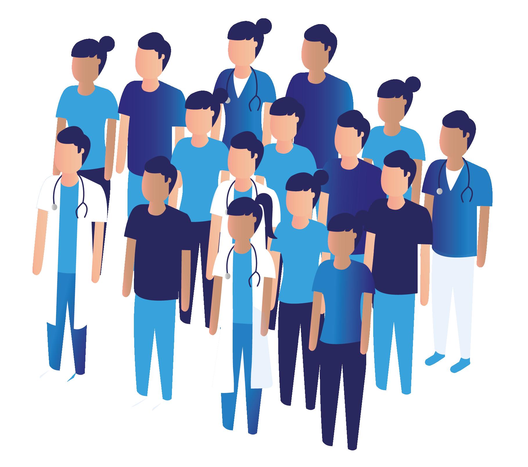 Ilustración grupo de Médicos y enfermeras